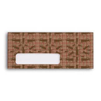 Rustic brown plaid moose window envelopes