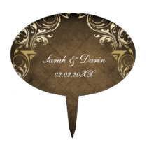 rustic brown regal  personalized cake picks