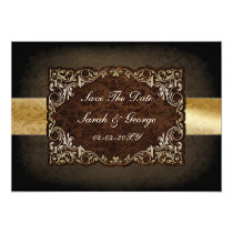 rustic brown regal save the date announcement