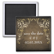 rustic brown regal save the date magnets