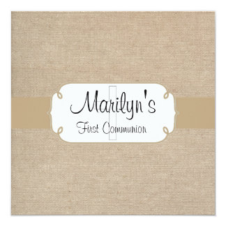 Rustic Brown Sand and Beige Burlap First Communion Card