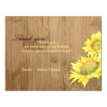 Rustic Brown Sunflower Wedding Thank You Card