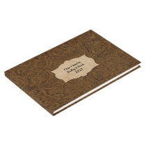 Rustic Brown Tooled Leather (Faux) Personalized Guest Book