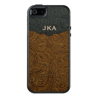 Rustic Brown Tooled Leather Personalized OtterBox iPhone 5/5s/SE Case