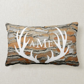 Rustic Brown Tree Bark Country Deer Antlers Lumbar Pillow