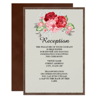 Rustic Brown Vintage Red Rose Reception Invitation