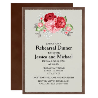 Rustic Brown Vintage Red Roses Wedding Rehearsal Card