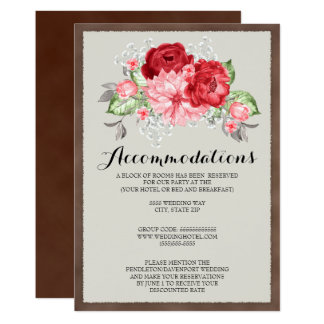 Rustic Brown Vintage Roses Wedding Accommodations Card