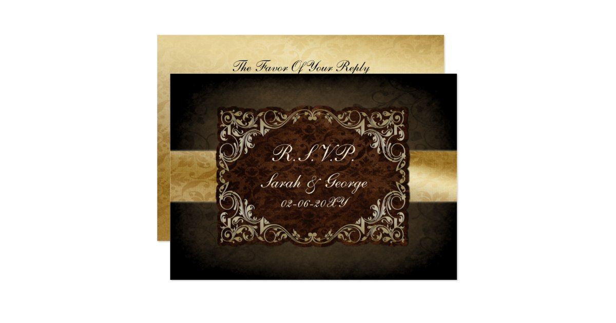 rustic brown wedding rsvp standard 35 x