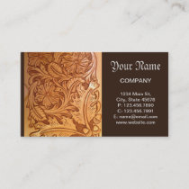 Rustic brown western country tooled leather business card