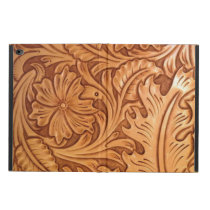Rustic brown western country tooled leather powis iPad air 2 case