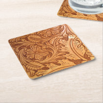 Rustic brown western country tooled leather square paper coaster