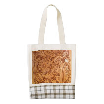 Rustic brown western country tooled leather zazzle HEART tote bag
