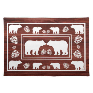 Rustic brown white wood bear pinecone placemat