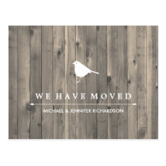 Rustic Brown Wood And Sweet Bird Change Of Address Postcard at Zazzle