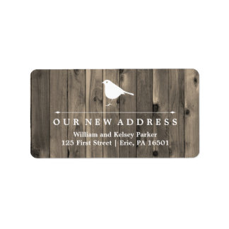 Rustic Brown Wood and Sweet Bird New Address Label