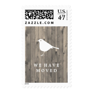 Rustic Brown Wood and Sweet Bird We Have Moved Postage