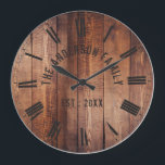 "Rustic Brown Wood Custom Family Name Farmhouse Large Clock<br><div class=""desc"">Farmhouse style wall clocks for the perfect addition to give your kitchen a country decor look. Personalize with family name and established year for an unique farmhouse wall clock.</div>"