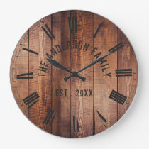 Rustic Brown Wood Custom Family Name Farmhouse Large Clock
