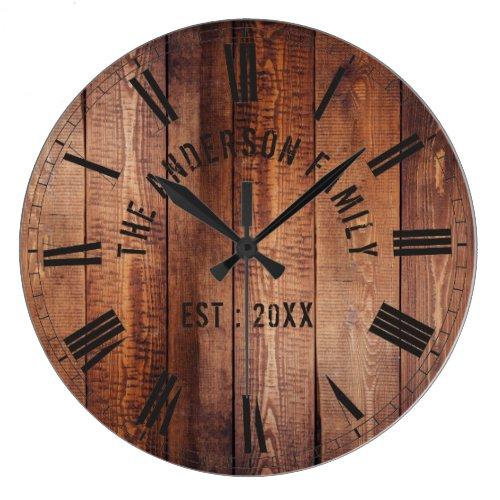 Rustic Brown Wood Custom Family Name Farmhouse Large Clock