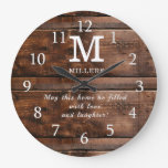 Rustic Brown Wood Family Monogram Quote Large Clock