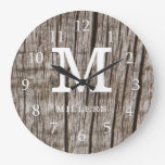 Rustic Brown Wood Family Name Monogram Initial Large Clock