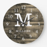 Rustic Brown Wood Family Name Monogrammed Large Clock