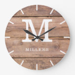 Rustic Brown Wood Farmhouse Monogram Name Large Clock
