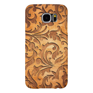 Rustic Brown Wood Floral Swirls Carved Samsung Galaxy S6 Case