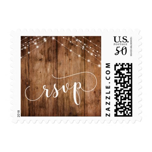 Rustic Brown Wood & Light Strings RSVP w/ Date 3 Postage