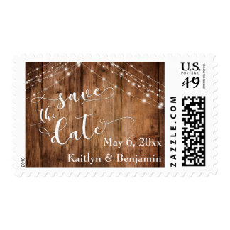 Rustic Brown Wood & Light Strings Save the Date Postage