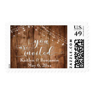 Rustic Brown Wood, Light Strings You are Invited 3 Postage