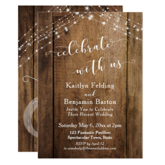 Rustic Brown Wood & Lights Celebrate with Us Invitation