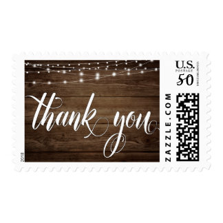 Rustic Brown Wood, Lights & Script, Thank You 3 Postage