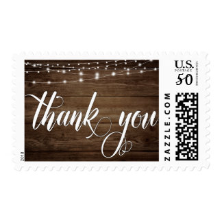 Rustic Brown Wood, Lights & Script, Thank You 5 Postage