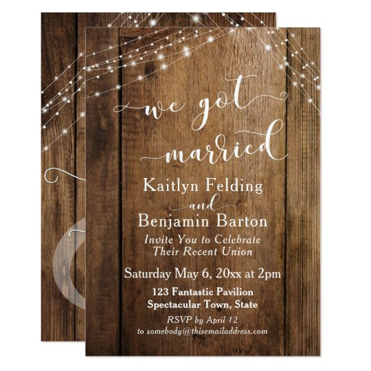 Rustic Brown Wood U0026 Lights We Got Married Event Invitation