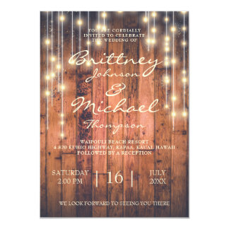 Rustic Brown Wood & Lights | Wedding Invitation