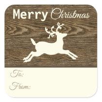 Rustic Brown Wood Reindeer Christmas Gift Tags