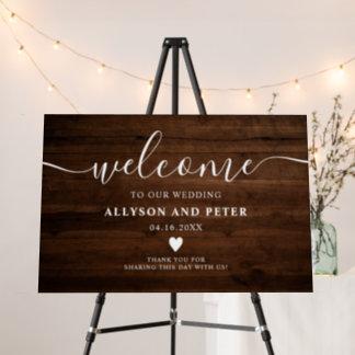 Rustic brown wood script photo wedding welcome foam board