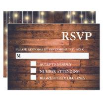 Rustic Brown Wood String Lights | RSVP Cards