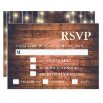 Rustic Brown Wood String Lights | RSVP & Meal Card