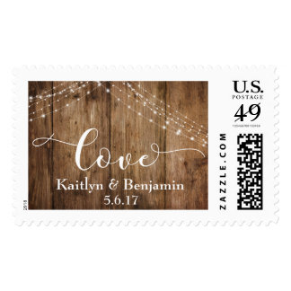 Rustic Brown Wood & String of White Lights, Love Postage