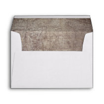 Rustic Brown Wood Texture Lined Wedding Invitation Envelope