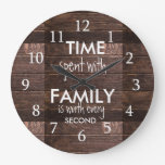 Rustic Brown Wood Time Spent With Family Quote Large Clock