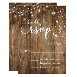 Rustic Brown Wood, White Light Strings RSVP Card