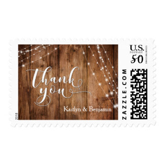 Rustic Brown Wood, White Light Strings Thank You 1 Postage