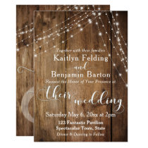 Rustic Brown Wood, White Light Strings Wedding 2 Invitation