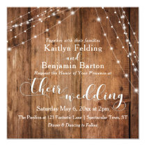 Rustic Brown Wood, White Light Strings Wedding 2c Invitation