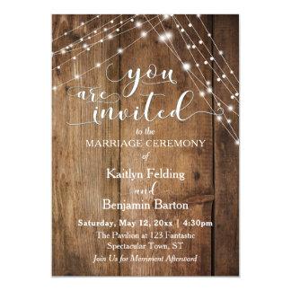 Rustic Brown Wood, White Light Strings Wedding Card