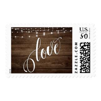 Rustic Brown Wood White Lights & Script, Love 3 Postage